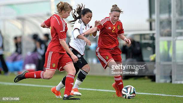 Gia Corley of Germany vies with Aster Janssens and Stefanie Pirotte of Belgium during the U15 Girl's international friendly match between Belgium and...
