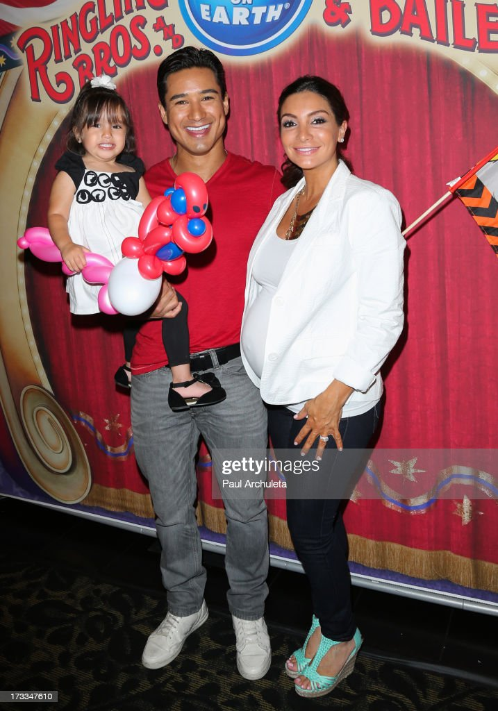 Gia Lopez, Mario Lopez and Courtney Lopez attend the premiere of Ringling Bros. And Barnum & Bailey's 'Built To Amaze!' at the Staples Center on July 11, 2013 in Los Angeles, California.