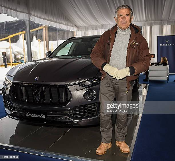 Giacomo Agostini former motorbike champion poses near a Maserati Levante during Snow Polo World Cup St Morits 2017 on January 28 2017 in St Moritz...