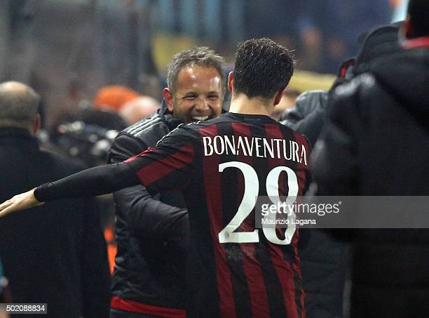 Giacomo Bonaventura and Sinisa Mihajlovic of Milan celebrates during the Serie A match between Frosinone Calcio and AC Milan at Stadio Matusa on...
