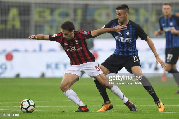 Giacomo Bonaventura of AC Milan and Matias Vecino of Internazionale during the Serie A match between FC Internazionale and AC Milan at Stadio...