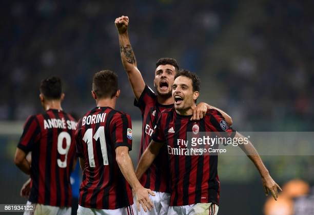 Giacomo Bonaventura of AC Milan celebrates after causing a own goal during the Serie A football match between FC Internazionale and AC Milan FC...