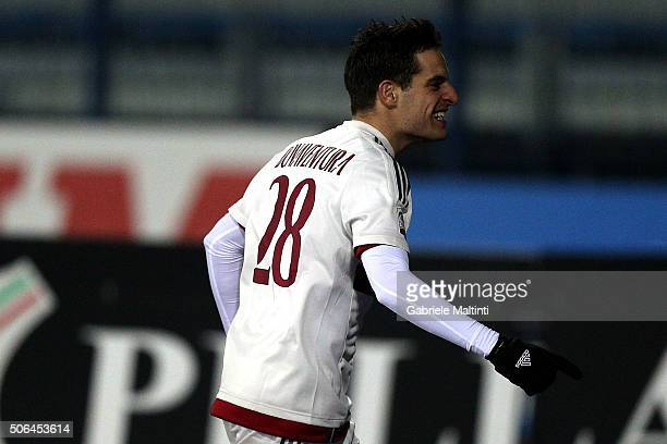 Giacomo Bonaventura of AC Milan celebrates after scoring a goal during the Serie A match between Empoli FC and AC Milan at Stadio Carlo Castellani on...