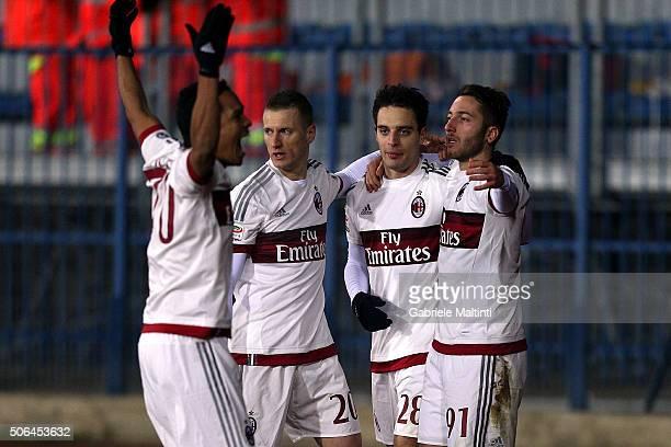 Giacomo Bonaventura of AC Milan celebrates after scoring a goal during the Serie A match between Empoli FC and AC Milan at Stadio Carlo Castellani on...