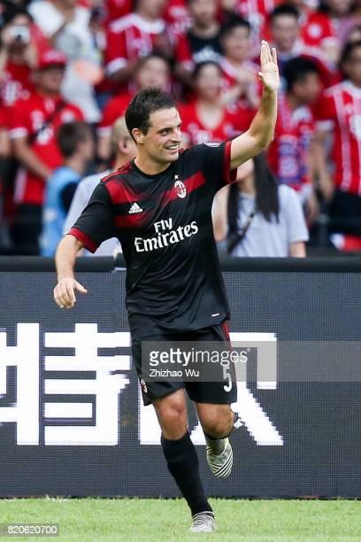 Giacomo Bonaventura of AC Milan celebrates after scoring a goal during the 2017 International Champions Cup China match between FC Bayern and AC...