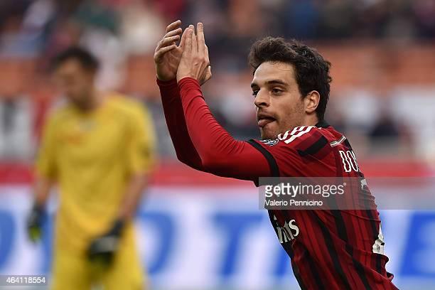 Giacomo Bonaventura of AC Milan celebrates after scoring the opening goal during the Serie A match between AC Milan and AC Cesena at Stadio Giuseppe...