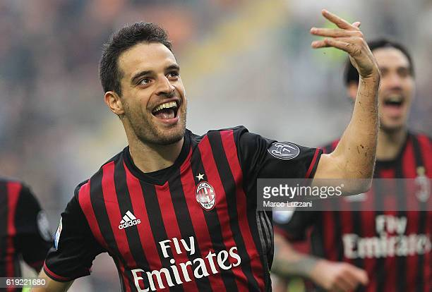 Giacomo Bonaventura of AC Milan celebrates after scoring the opening goal during the Serie A match between AC Milan and Pescara Calcio at Stadio...