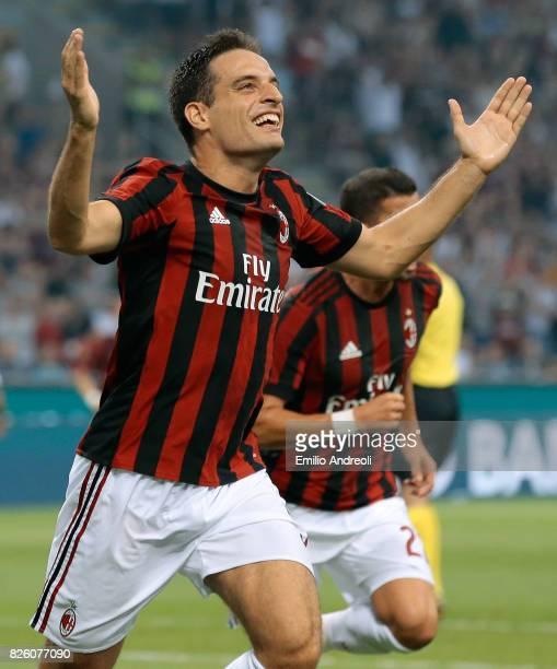 Giacomo Bonaventura of AC Milan celebrates after scoring the opening goal during the UEFA Europa League Third Qualifying Round Second Leg match...
