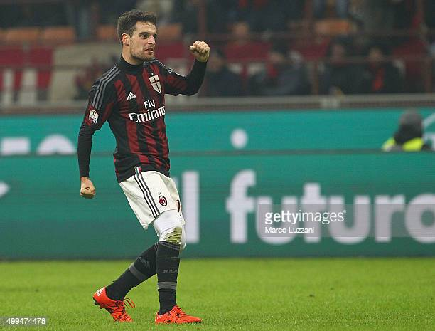 Giacomo Bonaventura of AC Milan celebrates his goal during the TIM Cup match between AC Milan and FC Crotone at Stadio Giuseppe Meazza on December 1...