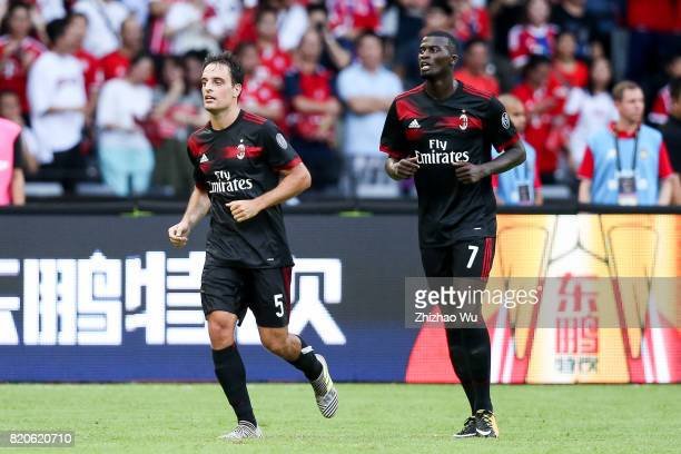 Giacomo Bonaventura of AC Milan celebrates with his teammates after scoring a goal during the 2017 International Champions Cup China match between FC...