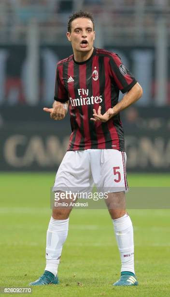 Giacomo Bonaventura of AC Milan gestures during the UEFA Europa League Third Qualifying Round Second Leg match between AC Milan and CSU Craiova at...