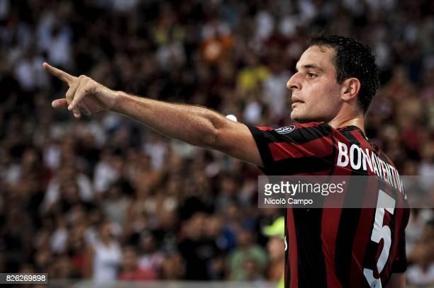 Giacomo Bonaventura of AC Milan gestures during the UEFA Europa League qualifier football match between AC Milan and CSU Craiova AC Milan wins 20...
