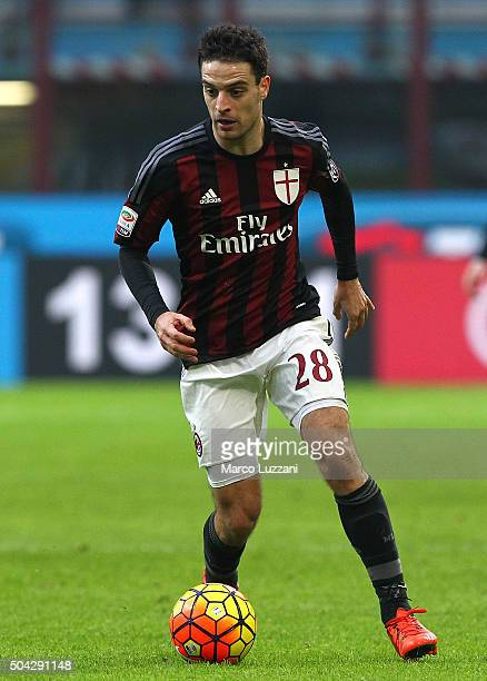 Giacomo Bonaventura of AC Milan in action during the Serie A match between AC Milan and Bologna FC at Stadio Giuseppe Meazza on January 6 2016 in...
