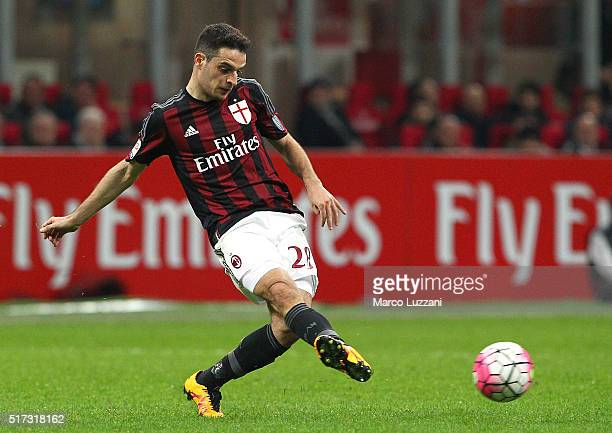 Giacomo Bonaventura of AC Milan in action during the Serie A match between AC Milan and SS Lazio at Stadio Giuseppe Meazza on March 20 2016 in Milan...