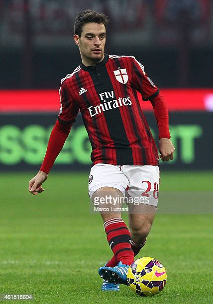 Giacomo Bonaventura of AC Milan in action during the TIM Cup match between AC Milan and US Sassuolo Calcio at Stadio Giuseppe Meazza on January 13...