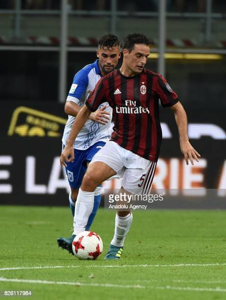 Giacomo Bonaventura of AC Milan in action during UEFA Europa League Qualifying Round match between AC Milan and CS U Craiova at Giuseppe Meazza of...