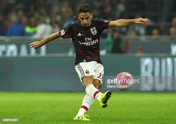 Giacomo Bonaventura of AC Milan kicks a ball during the Serie A match between FC Internazionale Milano and AC Milan at Stadio Giuseppe Meazza on...