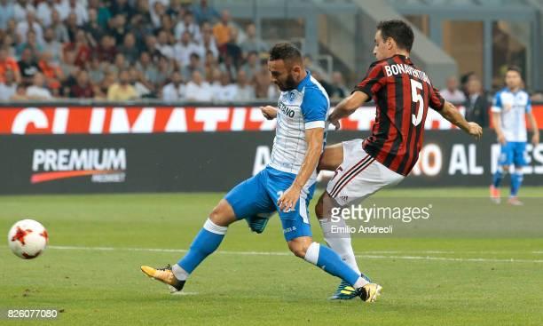 Giacomo Bonaventura of AC Milan scores the opening goal during the UEFA Europa League Third Qualifying Round Second Leg match between AC Milan and...