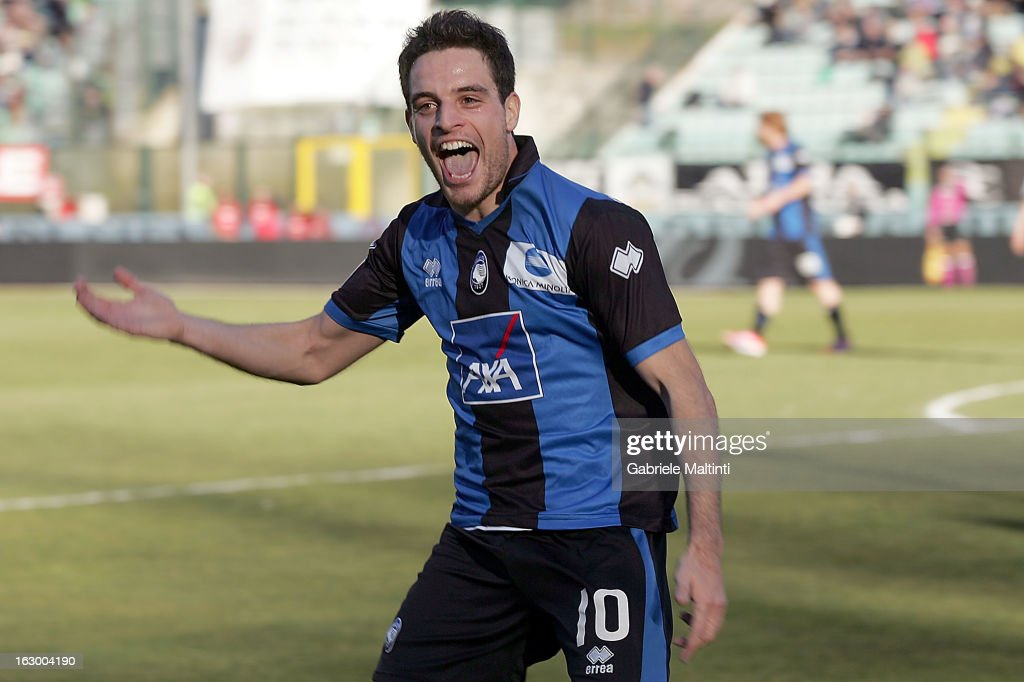 Giacomo Bonaventura of Atalanta Bc celebrates after scoring a goal during the Serie A match between AC Siena and Atalanta BC at Stadio Artemio Franchi on March 3, 2013 in Siena, Italy.