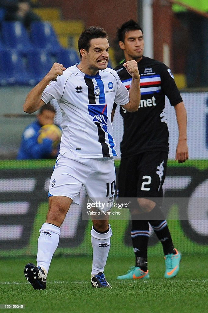 Giacomo Bonaventura (L) of Atalanta BC celebrates after scoring the opening goal during the Serie A match between UC Sampdoria and Atalanta BC at Stadio Luigi Ferraris on November 4, 2012 in Genoa, Italy.