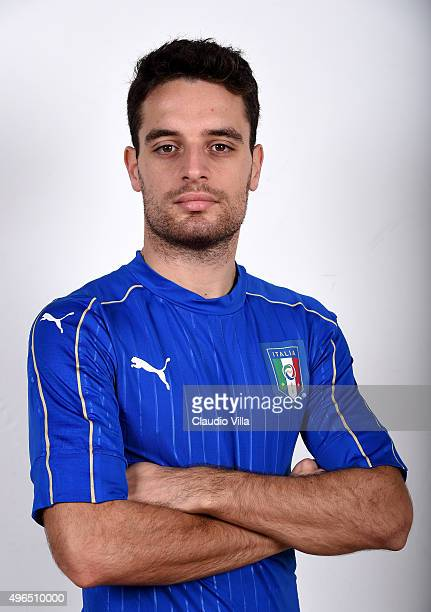 Giacomo Bonaventura of Italy poses during the official portrait session at Coverciano on November 10 2015 in Florence Italy