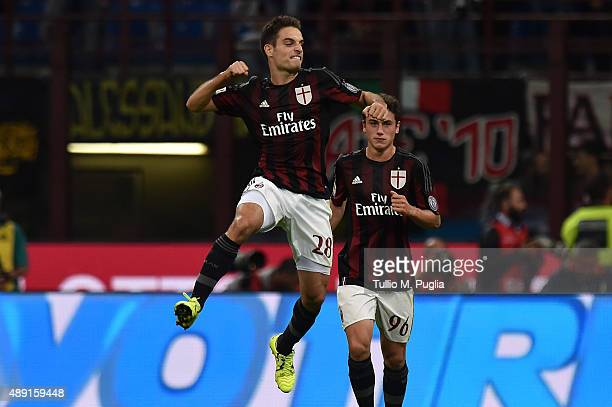 Giacomo Bonaventura of Milan celebrates after scoring his team's sencond goal during the Serie A match between AC Milan and US Citta di Palermo at...
