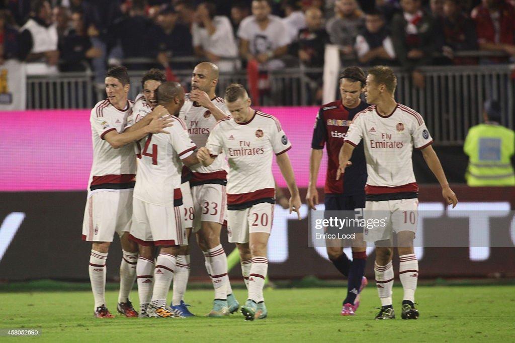 Giacomo Bonaventura of Milan celebreates with the team mates during the Serie A match between Cagliari Calcio and AC Milan at Stadio Sant'Elia on...