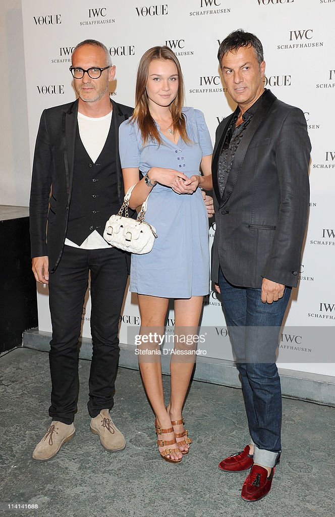 Giacomo Nicolodi (L) and guests attend Vogue and IWC present 'Peter Lindbergh's Portofino' at 10 Corso Como on May 12, 2011 in Milan, Italy.