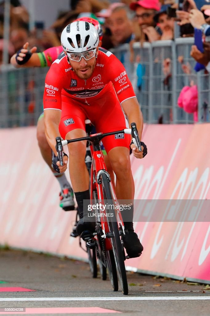 Giacomo Nizzolo of the Trek team, sprints to cross the finish line of the 21th and last stage of the 99th Giro d'Italia, Tour of Italy, from Cuneo to Turin on May 29, 2016. Giacomo Nizzolo of the Trek team was stripped of victory in the final stage of the Giro d'Italia today after deviating from his sprint line. Nizzolo thought he had claimed his maiden win from the race and even carried out post-stage interviews. But the Italian fell back to earth with a bump after race judges ruled that he broke rules by deviating from his line, a move which stopped other riders -- including Sacha Modolo of Lampre -- from challenging for the stage victory. It meant the stage victory goes to Germany's Nikias Arndt, of Giant. PHOTO / Luk BENIES / The erroneous mention[s] appearing in the metadata of this photo by Luk BENIES has been modified in AFP systems in the following manner: [Giacomo Nizzolo of the Trek team, sprints to cross the finish line of the 21th and last stage of the 99th Giro d'Italia, Tour of Italy, from Cuneo to Turin on May 29, 2016. Giacomo Nizzolo of the Trek team was stripped of victory in the final stage of the Giro d'Italia today after deviating from his sprint line.] instead of [---]. Please immediately remove the erroneous mention[s] from all your online services and delete it (them) from your servers. If you have been authorized by AFP to distribute it (them) to third parties, please ensure that the same actions are carried out by them. Failure to promptly comply with these instructions will entail liability on your part for any continued or post notification usage. Therefore we thank you very much for all your attention and prompt action. We are sorry for the inconvenience this notification may cause and remain at your disposal for any further information you may require.