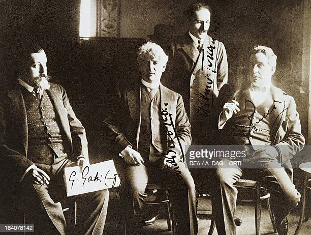 Giacomo Puccini Arturo Toscanini David Belasco and Giulio Gatti Casazza in the United States for the premiere of the opera La Fanciulla del West...