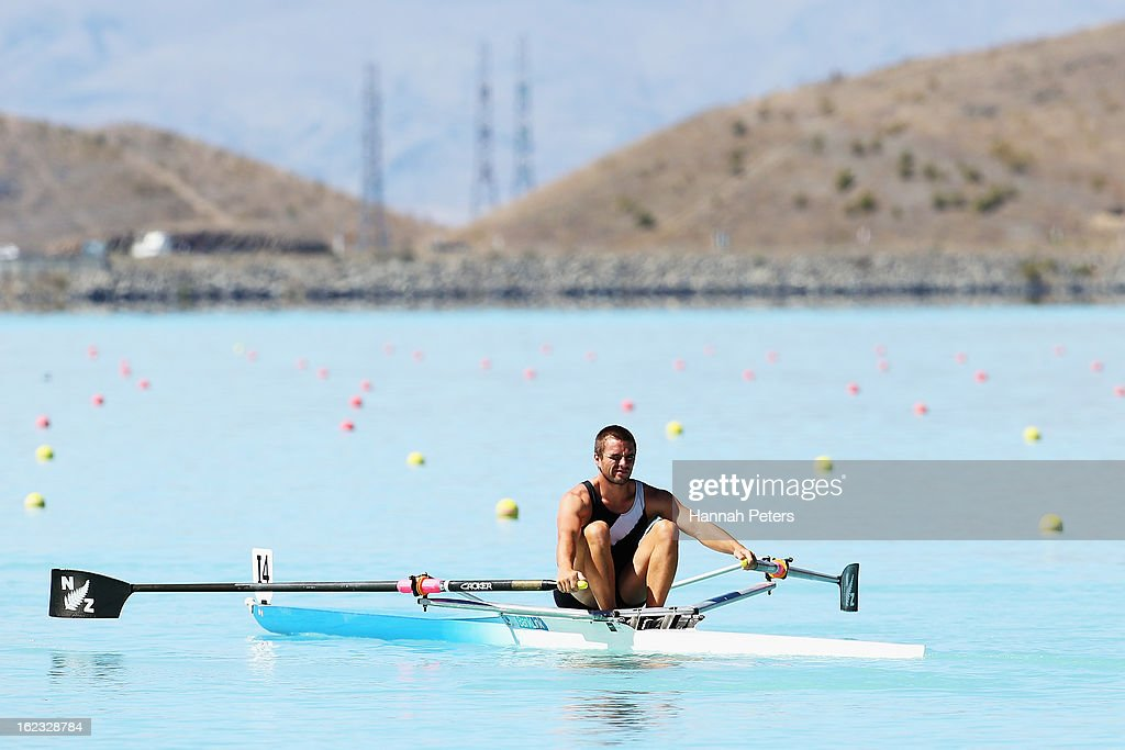 Giacomo Thomas of Auckland competes in the Men's U22 1X final during the New Zealand Rowing Championships at Lake Ruataniwha on February 22, 2013 in Twizel, New Zealand.