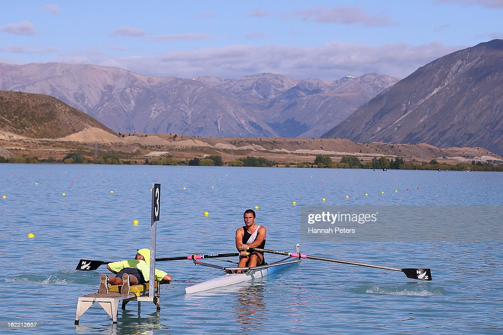 Giacomo Thomas of Auckland competes in the Men's U22 1X semifainl during day three of the New Zealand Rowing Championships at Lake Ruataniwha on February 21, 2013 in Wellington, New Zealand.