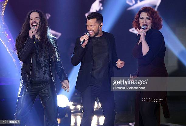 Giacomo Voli Ricky Martin and Daria Biancardi perform at 'The Voice Of Italy' Tv Show on May 28 2014 in Milan Italy