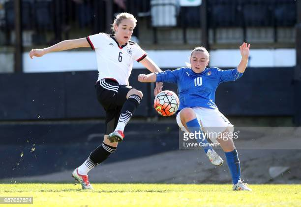 Giada Greggi of Italy and Sydney Lohmann of Germany during the Germany v Italy U17 Girl's Elite Round at Keys Park on March 25 2017 in Cannock England
