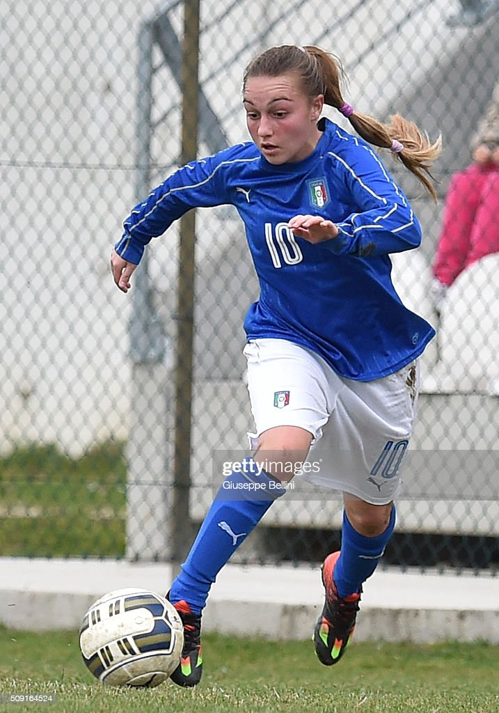 Giada Greggi of Italy in action during the Women's U17 international friendly match between Italy and Norway on February 9, 2016 in Cervia, Italy.