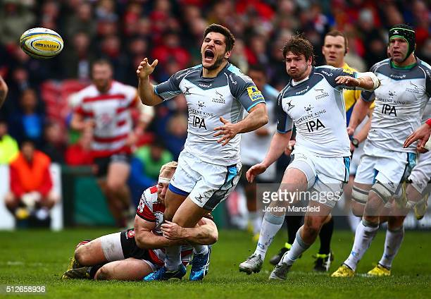 Giamba Venditti of Newcastle reacts after losing postion after being tackled by Matt Kvesic of Gloucester during the Aviva Premiership match between...