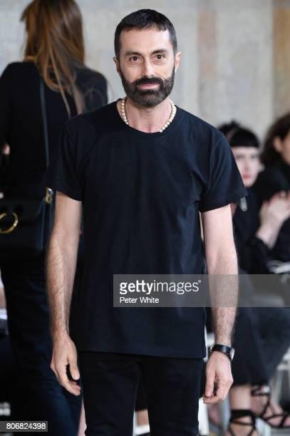 Giambattista Valli acknowledges the audience after the Giambattista Valli Haute Couture Fall/Winter 20172018 show as part of Haute Couture Paris...