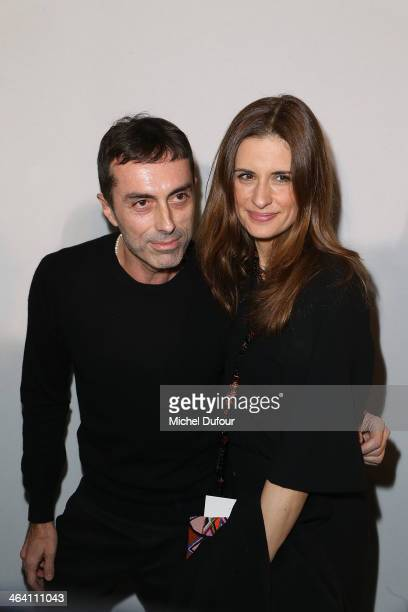 Giambattista Valli and Livia Firth attend the Giambattista Valli show as part of Paris Fashion Week Haute Couture Spring/Summer 2014 on January 20...
