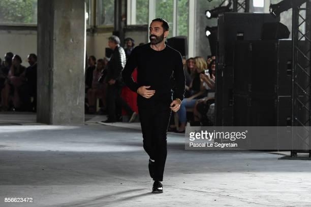 Giambattista Valli walks the runway during the Giambattista Valli Paris show as part of the Paris Fashion Week Womenswear Spring/Summer 2018 on...