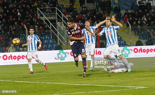Giammarco Ferrari of Crotone scores his team's second goal during the Serie A match between FC Crotone and Pescara Calcio at Stadio Comunale Ezio...