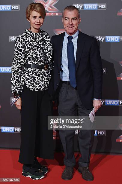 Giampaolo Letta and Rossana Letta attends 'X Factor X' Tv Show Red Carpet on December 15 2016 in Milan Italy