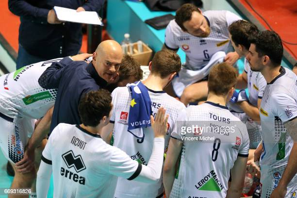 Giampaolo Medei head coach of Tours during the Final Cup CEV match between Tours VB and Trentino Diatec on April 15 2017 in Tours France
