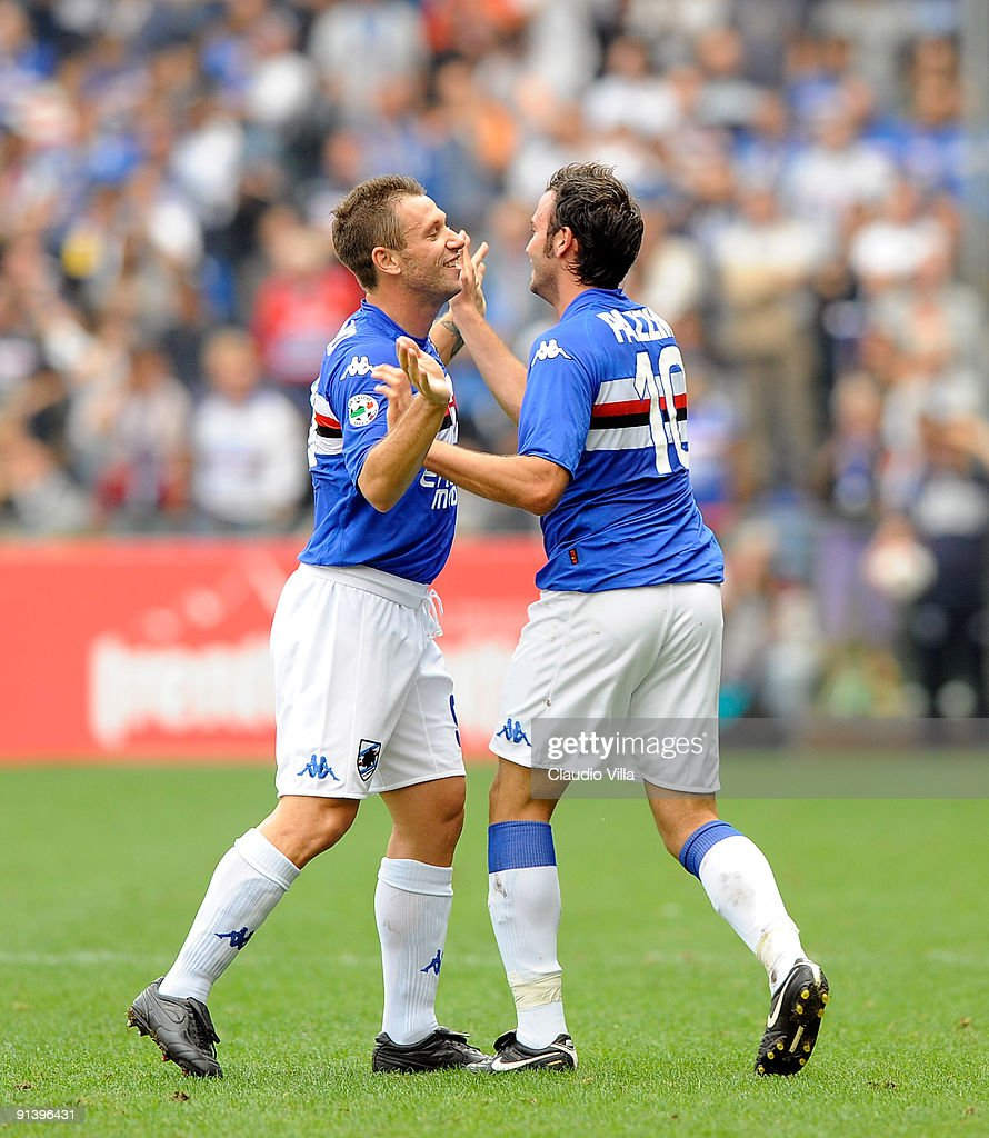 <a gi-track='captionPersonalityLinkClicked' href=/galleries/search?phrase=Giampaolo+Pazzini&family=editorial&specificpeople=800179 ng-click='$event.stopPropagation()'>Giampaolo Pazzini</a> (R) and <a gi-track='captionPersonalityLinkClicked' href=/galleries/search?phrase=Antonio+Cassano&family=editorial&specificpeople=214558 ng-click='$event.stopPropagation()'>Antonio Cassano</a> of UC Sampdoria after the first goal during the Serie A match between UC Sampdoria and Parma FC at Stadio Luigi Ferraris on October 4, 2009 in Genoa, Italy.