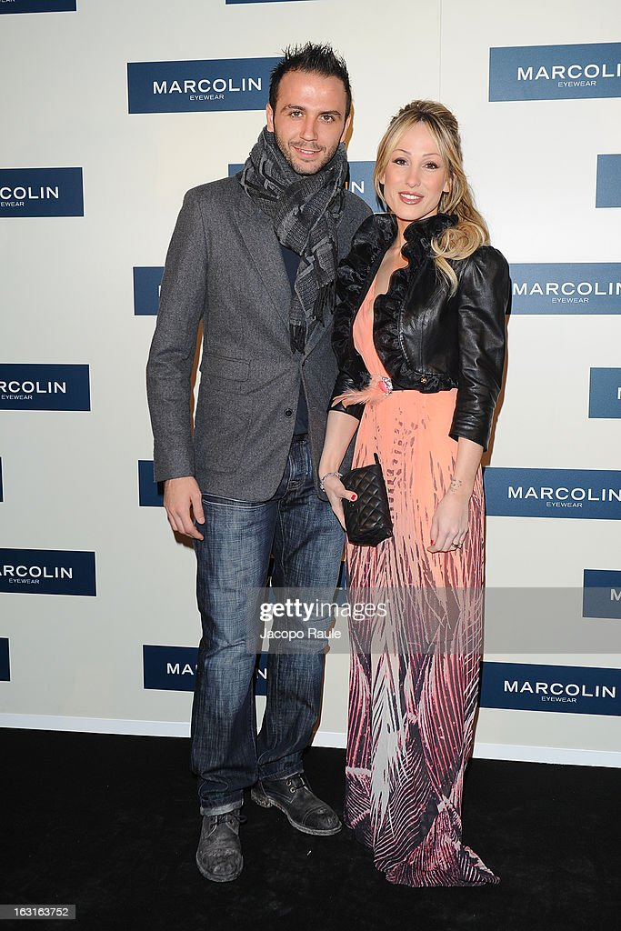 Giampaolo Pazzini and Silvia Pazzini attend Marcolin Hosts 'Sguardi d'Atelier' Exhibition on March 5, 2013 in Milan, Italy.
