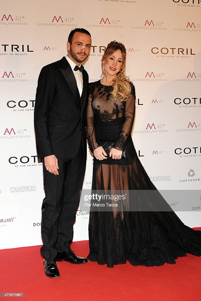 Giampaolo Pazzini and wife Silvia Slitti attend the Alessandro Martorana birthday party at Four Seasons Hotel on March 6 2014 in Milan Italy