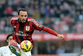 Giampaolo Pazzini f AC Milan in action during the Serie A match between AC Milan and Atalanta BC at Stadio Giuseppe Meazza on January 18 2015 in...
