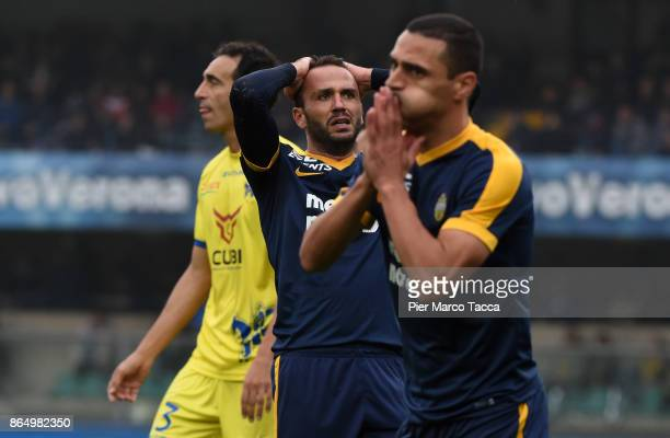 Giampaolo Pazzini looks disappointed during the Serie A match between AC Chievo Verona and Hellas Verona FC at Stadio Marc'Antonio Bentegodi on...