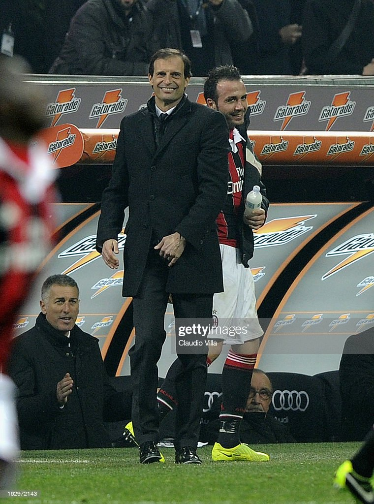 Giampaolo Pazzini of AC Milan and head coach Massimiliano Allegri celebrate during the Serie A match between AC Milan and S.S. Lazio at San Siro Stadium on March 2, 2013 in Milan, Italy.