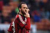 Giampaolo Pazzini of AC Milan celebrates a goal during the Serie A match between AC Milan and AC Cesena at Stadio Giuseppe Meazza on February 22 2015...