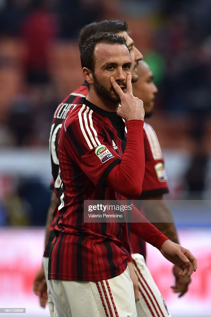 <a gi-track='captionPersonalityLinkClicked' href=/galleries/search?phrase=Giampaolo+Pazzini&family=editorial&specificpeople=800179 ng-click='$event.stopPropagation()'>Giampaolo Pazzini</a> of AC Milan celebrates a goal during the Serie A match between AC Milan and AC Cesena at Stadio Giuseppe Meazza on February 22, 2015 in Milan, Italy.